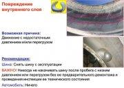 Повреждение внутреннего слоя шины
